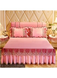 Sweet Pink Embroidery Lace Ruffle Style Crystal Velvet Bed Skirt