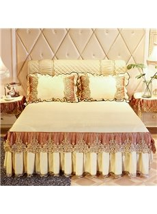 Solid Color Warm Yellow Lace Ruffle Style Crystal Velvet Bed Skirt