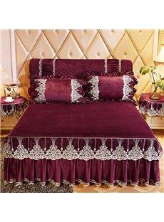 Lace Ruffle Design Burgundy Crystal Velvet Bed Skirt