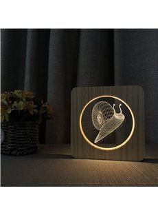 Natural Wooden Acrylic Panel Animal Pattern Light for Kids