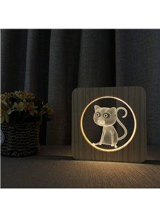 Natural Wooden Animal Pattern Night Lamp for Kids