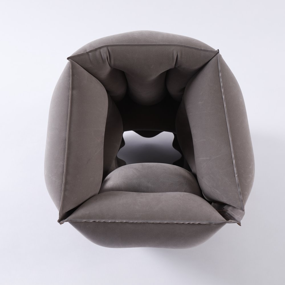 PVC Flocking Inflatable Wedge Neck Travel Pillow