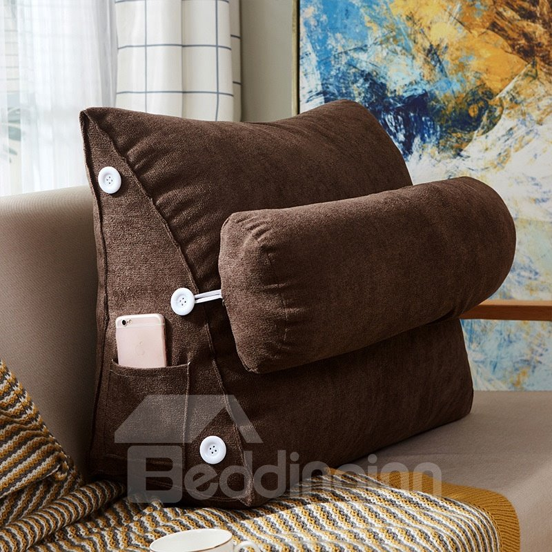 Adjustable Back Wedge Cushion Pillow with Phone Pocket for Sofa Bed Office