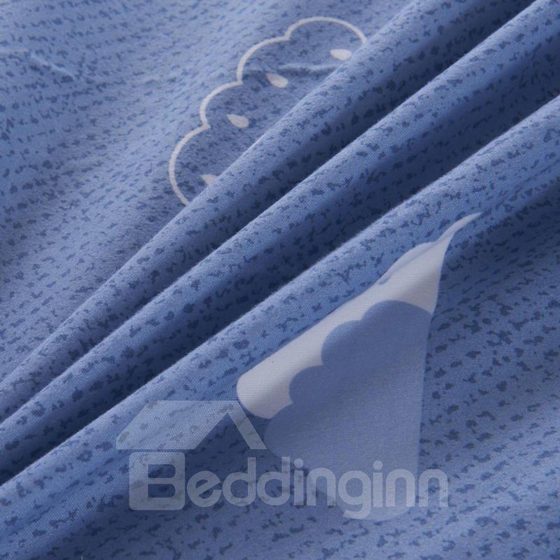 Cartoon Clouds Printed Blue TPU Waterproof Breathable Fitted Sheet