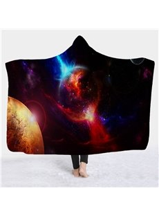 Space Planet Galaxy Printed Wearable 3D Hooded Blanket