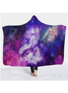 Purple Space Galaxy Soft Warm Wearable 3D Hooded Blanket
