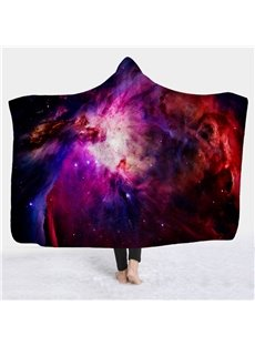 3D Galaxy Star Print Super Soft Sherpa Fleece Hooded Blanket