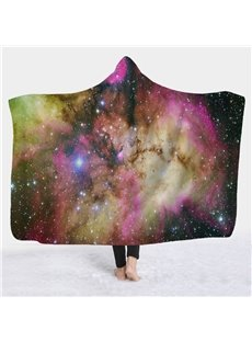 Charming Starry Galaxy Printed 3D Fleece Hooded Blanket