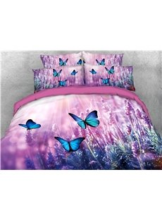 Purple_Lavender_and_Butterfly_Printed_4Piece_3D_Bedding_SetsDuvet_Covers