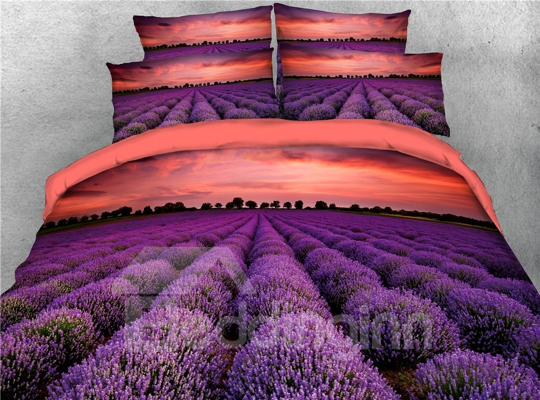 A Field of Lavender Purple Printed 4-Piece 3D Bedding Sets/Duvet Covers