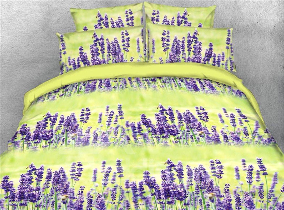 Purple Lavender Printed 4-Piece 3D Bedding Sets/Duvet Covers