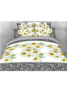 Elegant Natural Wild White Daisy Flower 3D Print 4-Piece Bedding Sets/Duvet Covers