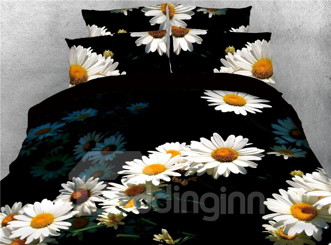 White Daisy Printed 4-Piece 3D Black Bedding Sets/Duvet Covers
