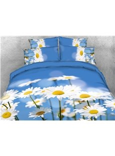 White Daisies & Blue Sky Printed 4-Piece 3D Bedding Sets/Duvet cover