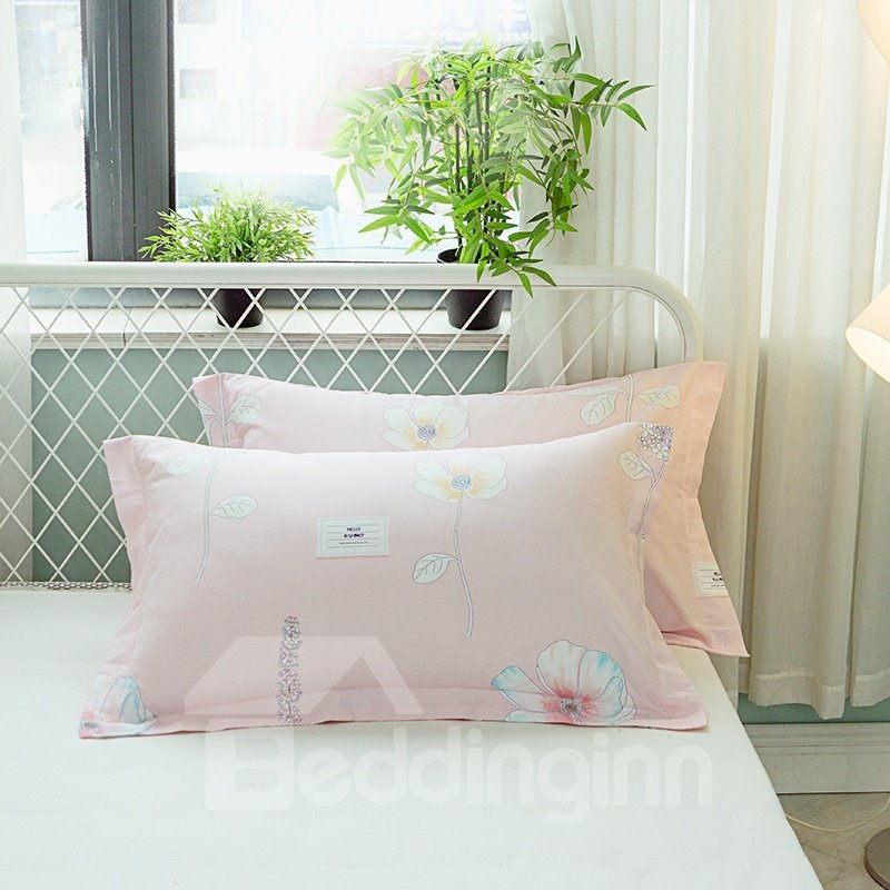 Pink Flower Printed Cotton 4-Piece Quilting Bedding Sets/Duvet Covers