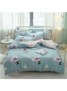Purple Flower Printed Cotton 4-Piece Bedding Sets/Duvet Covers