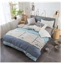 Plaid Pattern Quilting 4-Piece Cotton Bedding Sets/Duvet Covers