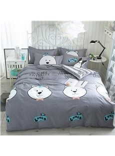 Cartoon Bear Animal Printed Cotton 4-Piece Grey Bedding Sets/Duvet Covers
