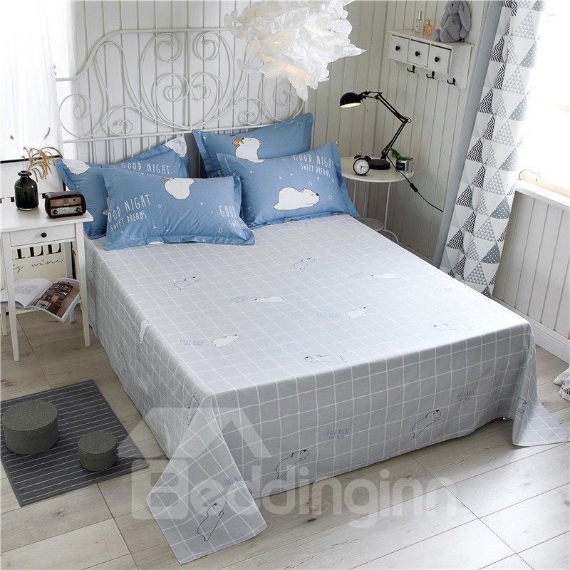 Cartoon Bear Printed 4-Piece Blue Bedding Sets/Duvet Covers
