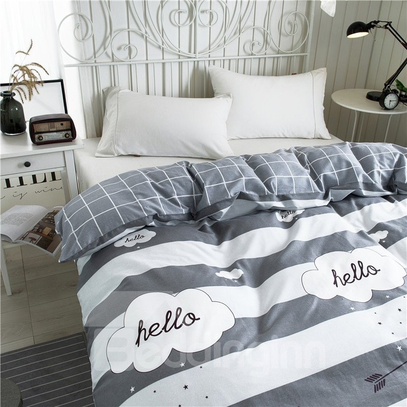 White and Grey Stripes Printed Geometric Pattern Cotton 4-Piece Bedding Sets/Duvet Covers