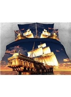 Luxury Sailing Ship Sunset Printed 4-Piece 3D Bedding Sets/Duvet Covers