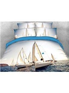 Sailing Boats & Sea Exploration Printed 4-Piece 3D Bedding Sets/Duvet Covers