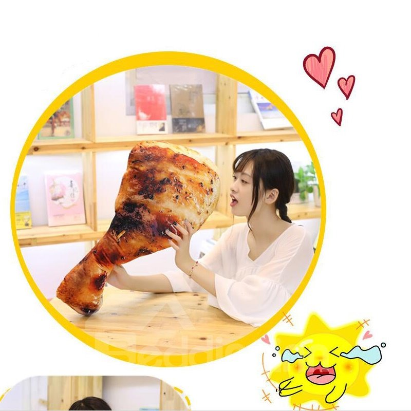 Vivid 3D Simulation Food Chicken Leg Plush Pillow Cushion