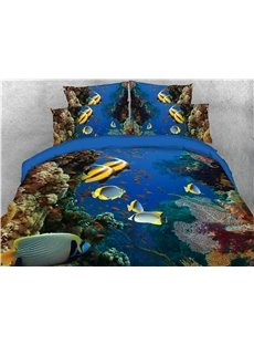 Chasing Fish Marine Life Printed 4-Piece 3D Bedding Sets/Duvet Covers