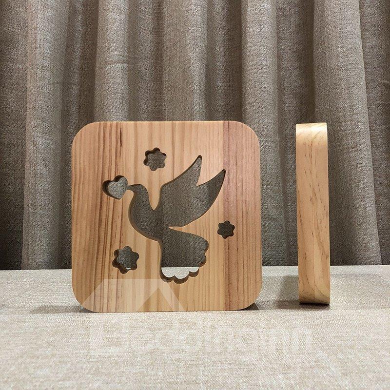 Natural Wooden Creative Pigeon Pattern Design Light for Kids