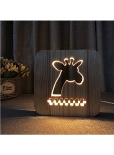 Natural Wooden Creative Giraffe Pattern Design Light for Kids
