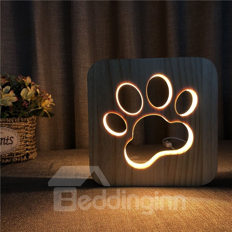 Natural Wooden Creative Dog Claw Pattern Design Light for Kids