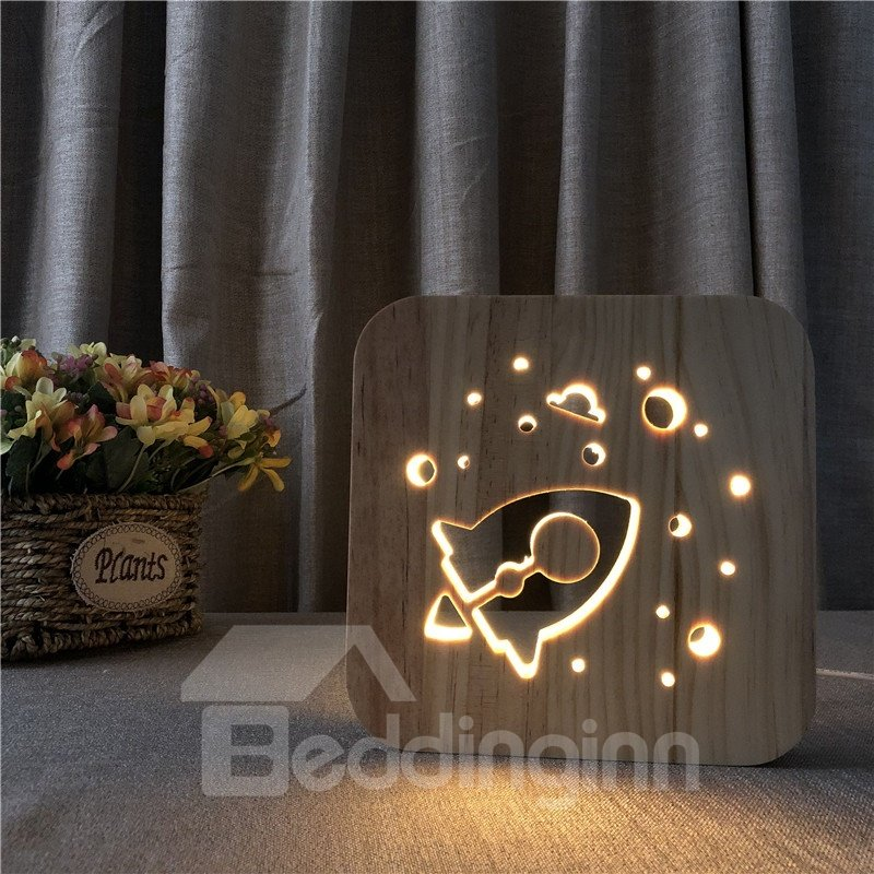Natural Wooden Creative Rocket Pattern Design Light for Kids