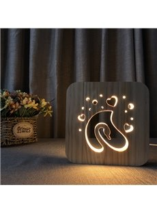 Creative Natural Wooden Swan Pattern Design Light for Kids