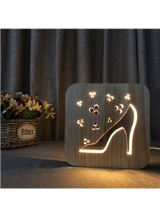 Creative Natural Wooden High Heels Pattern Light for Kids