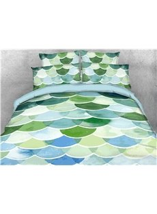 Green Fish Scale Roof Tiles Printed 4-Piece 3D Bedding Sets/Duvet Covers