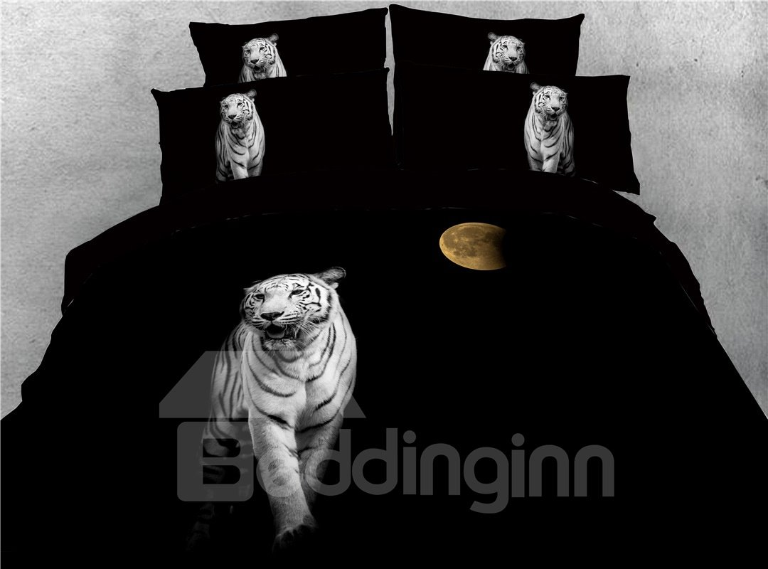 Tiger Head Printed 3 Pattern Black 4-Piece 3D Bedding Sets/Duvet Covers