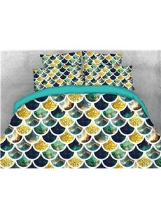 Colorful Fish Scale Roof Tiles Golden and Galaxy Printed 4-Piece 3D Bedding Sets/Duvet Covers