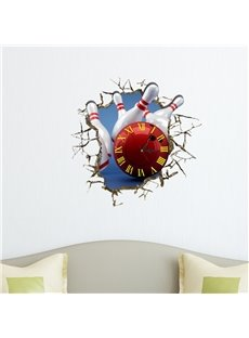 Bowling Shaped 3D Decoration Art Wall Clock with Removable Sticker