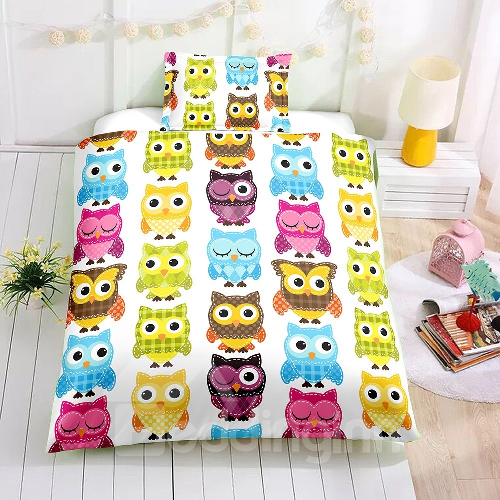 Cartoon Multi Color Owl Printed 2PC/3PC Bedding Sets/Duvet Cover