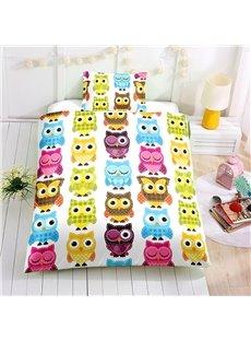 Cartoon Multi Color Owl Printed 2PC/3PC Bedding Sets/Duvet Cover