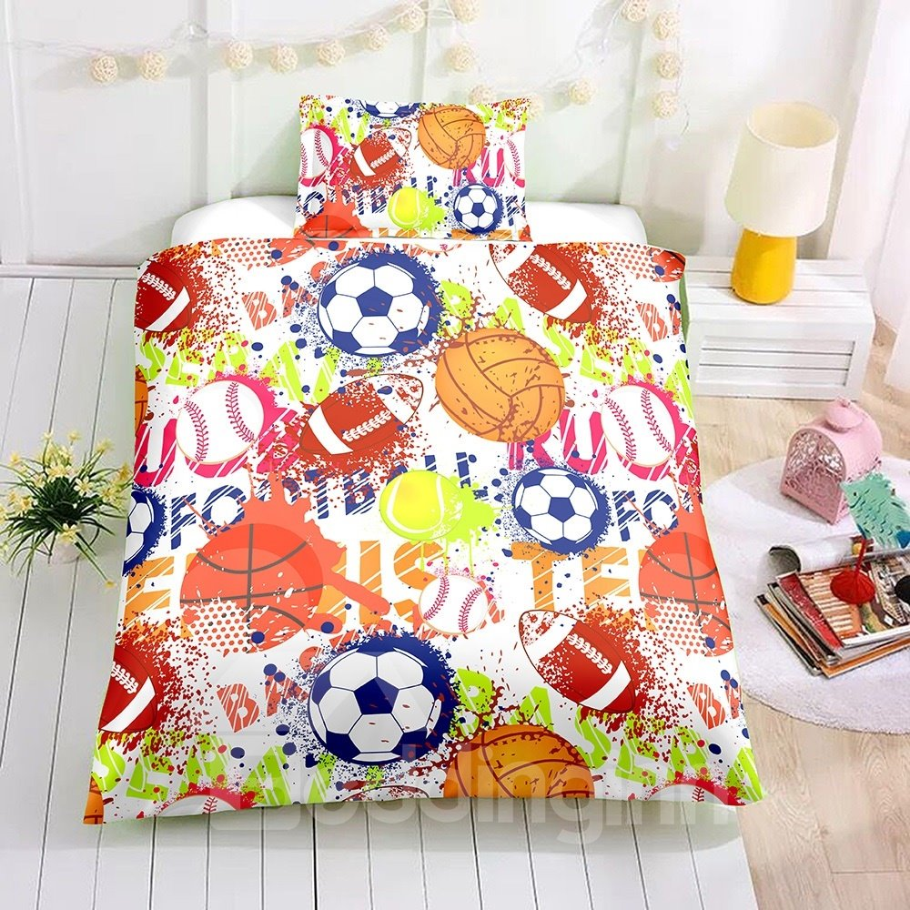 Watercolor Ball Sports Printed 2PC/3PC Bedding Sets/Duvet Cover
