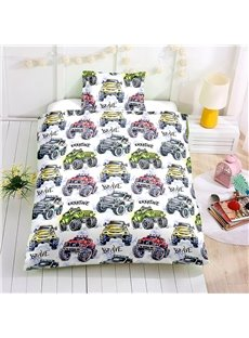 Watercolor Racing Car Printed 4-Piece Bedding Sets/Duvet Cover