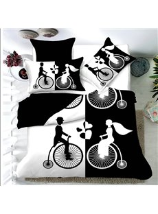 Bride and Groom Couple Black and White Printed 4-Piece Bedding Sets/Duvet Cover