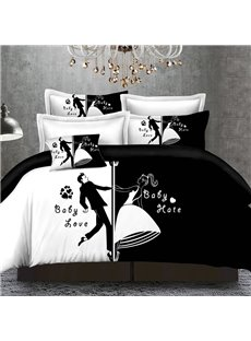 Couple Bride and Groom Black and White 4-Piece Bedding Sets/Duvet Cover