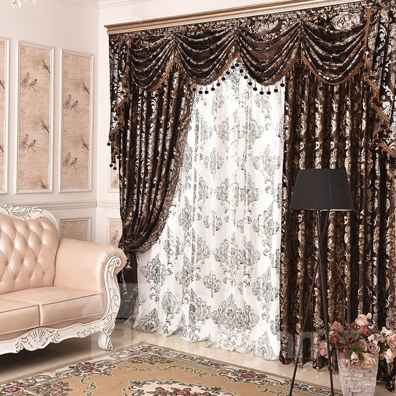 Classic Design Embroidery Drapes Grommet 2 Panels for Living Room