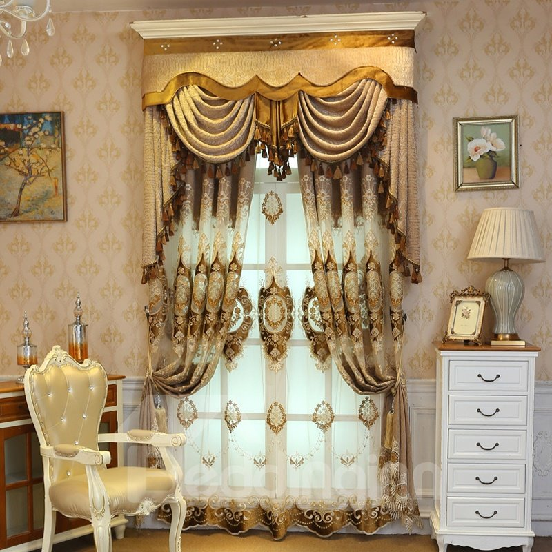 Embroidery Noble Golden Curtain Living Room Bedroom Pic