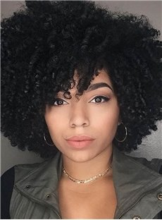 Kinky Curly Natural Black Loose Medium Layered Synthetic Hair African American For Black Women Wigs