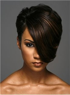 Short One Side Part Straight Layered Boy Cuts Capless African American Women Wigs