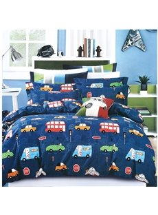 Cartoon Car Printed Blue 2PC/3PC Bedding Sets/Duvet Covers
