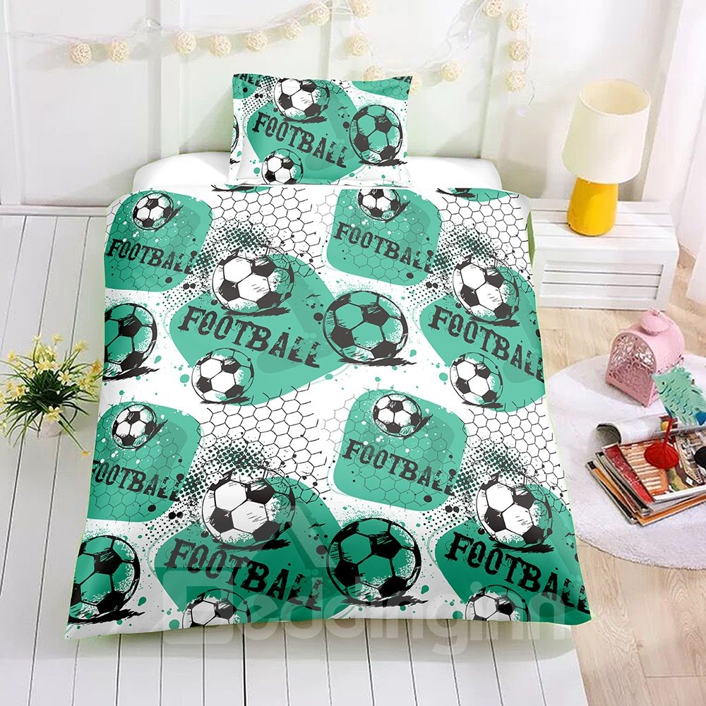 Soccer Printed Green 2PC/3PC Bedding Sets/Duvet Covers